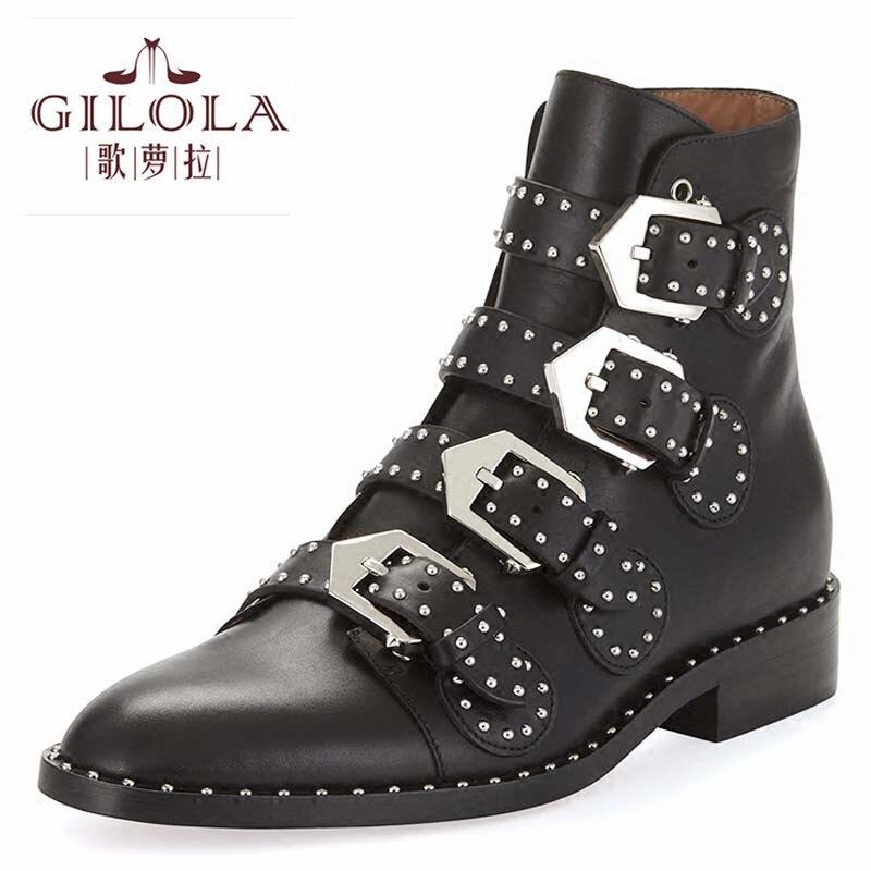 58620f73ea939b Stivali di cuoio genuini di nuovo moto caviglia rivetti donne stivali  pattini di modo delle donne