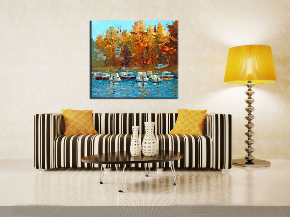 Handmade Modern Abstact Seascape Hand Painted Wall Art <font><b>Boats</b></font> on the Waterfront Landscape Palette <font><b>Knife</b></font> Oil Painting on Canvas image