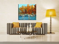 Handmade Modern Abstact Seascape Hand Painted Wall Art Boats on the Waterfront Landscape Palette Knife Oil Painting on Canvas