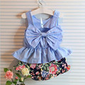 New Fashion 2017 Summer Baby Toddler Girls Clothing Sets Kids Girl Clothes Sleeveless Bow Tan Tops+Floral Short Pant 2Pcs JW1374