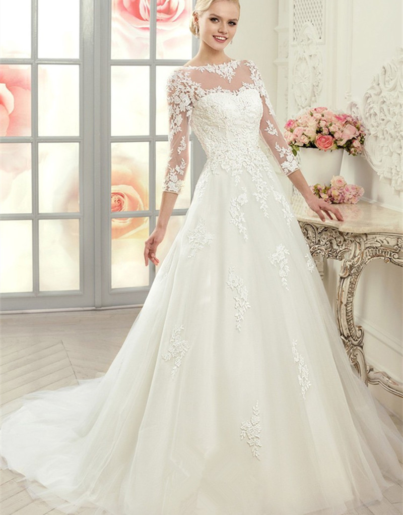 Aliexpress.com : Buy New Arrival 3/4 Sleeves Lace Wedding Dresses ...