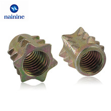 [M4 M5 M6 M8] Zinc Alloy Thread For Wood Insert Spiked Nuts Furniture Link Nuts