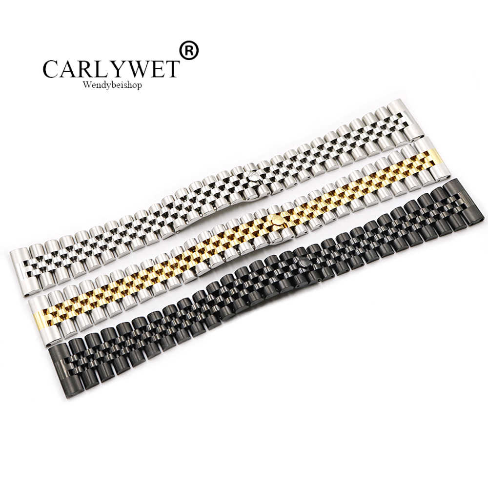 CARLYWET 20 22mm Stainless Steel Replacement Wrist Watch Band Bracelet Strap For Rolex Datejust Daytona MILGAUSS Omega IWC Tag