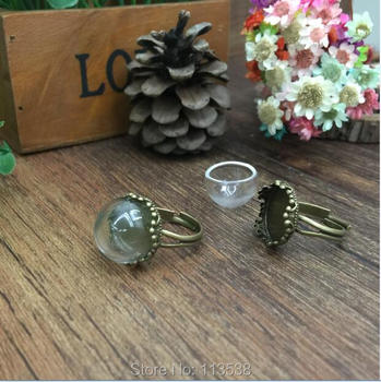 100sets/lot 15mm glass dome globe bronze color crown ring setting base set handmade glass vial jewelry glass bottle cover ring