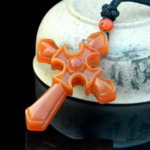 YunNan HuangLong Jade Christ Cross Pendant Necklace Sweater Chain Drop Shipping Hand Carved Stone With
