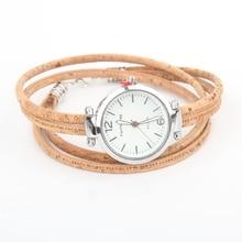 Cork natural color ladies watch belt cork bracelet cork silver watch bracelet watch DIY 012