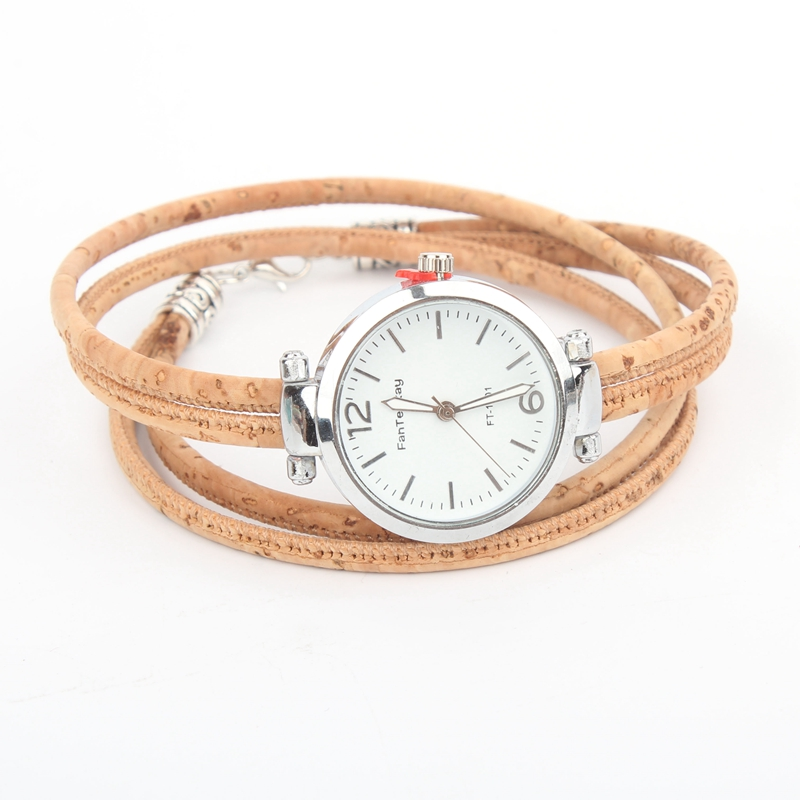 Kork natürliche farbe damen uhr gürtel, kork armband, kork silber uhr, armband uhr, DIY-012