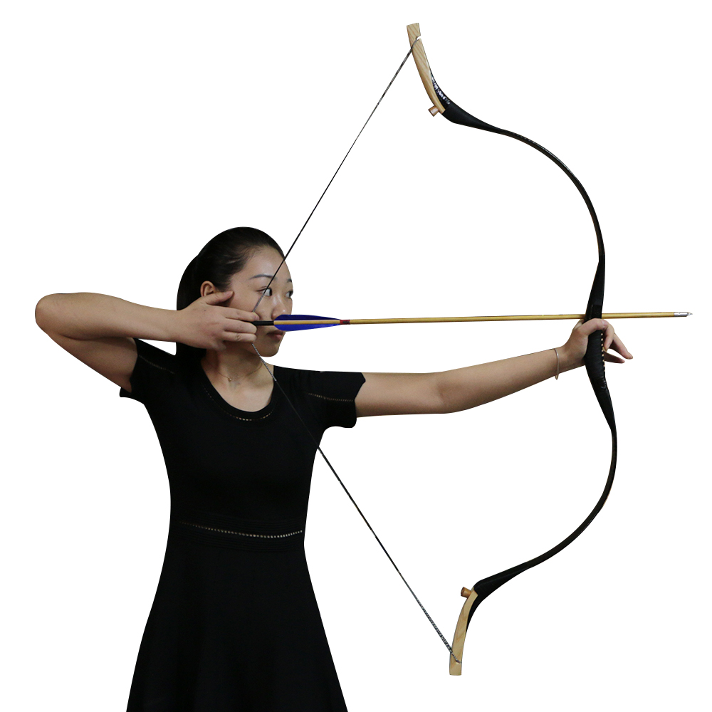 30-70lbs Pure Black Traditional Recurve Bow Snake Skin Beech Wood With String Pad Archery Shooting Hunting Arrow Target dmar archery quiver recurve bow bag arrow holder black high class portable hunting achery accessories