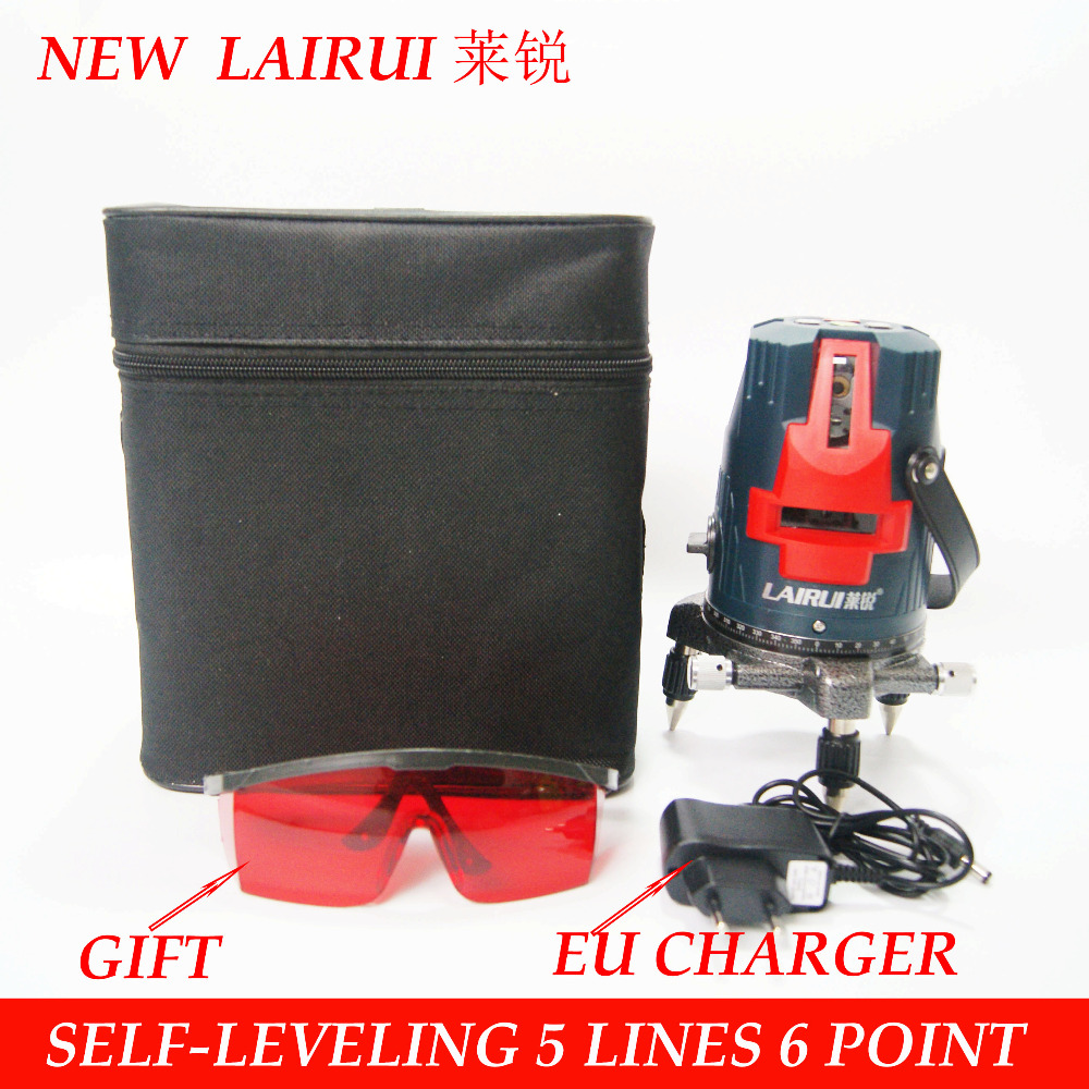 lairui brand 5 lines 6 points laser level 360 degree rotary cross laser line level 635nm
