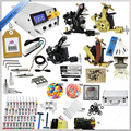 1 Sets Complete 4 Gun Tattoo Kits Professional Machine Equipment+Teaching CD+Ink +Needles+Power supply For Beginners Body Art #T