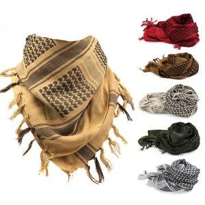 Image 1 - 綿 100% 厚いアラブスカーフ男性の冬の軍事 Keffiyeh 防風スカーフイスラム教徒ヒジャーブ Shemagh タクティカル砂漠正方形ウォーゲーム