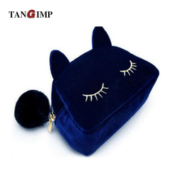 Tangimp 2017 cute cat flannel women makeup organizer bags high quality clutches travel toiletry cosmetic storage.jpg 250x250