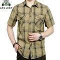 AFS JEEP Marca Ropa 2016 Camisa de Los Hombres Más Tamaño 5XL Camisa Masculina Hombres Camisa A Cuadros de Algodón Da Vuelta-abajo Camisas casuales