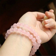 Pink crystal bracelet female natural bracelets 8mm version sweet single ring