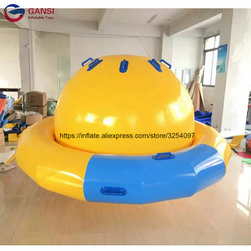 Customized color aqua park spinner rocker toys inflatable saturn boat with free pump