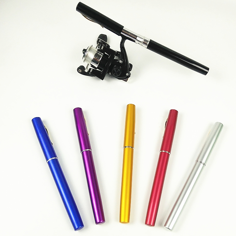 Cheap Price 1m 1.5m Pen Shape Fishing Rod Spinning Reel Set Lift Weight 1-1.2kg Red Blue Small Telescopic Ice Fishing Pole Child Gift