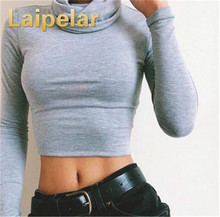 Tops Women turtleneck Long Sleeve Clothing Crop Feminine black Knitted Cropped for Girl T Shirt Pullover