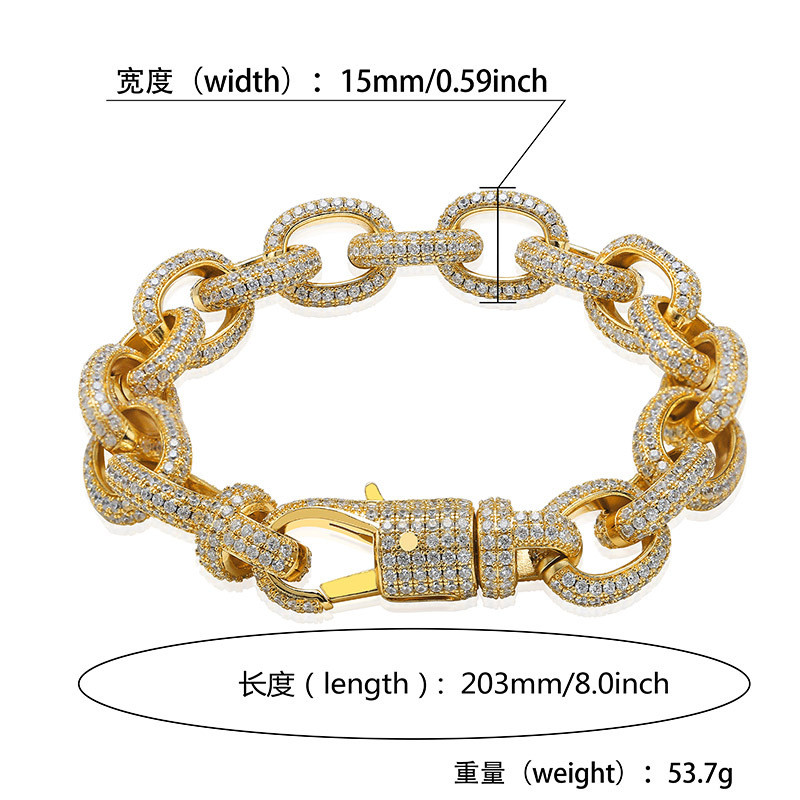 Iced out Bling Elliptical twisted large buckle bracelet micro studded zircon men 39 s personality hip hop bracelet For Men Jewelry in Chain amp Link Bracelets from Jewelry amp Accessories