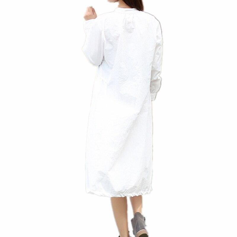 Mori Girl Long Sleeve Shirt Dress 100 Cotton Stand Collar Button