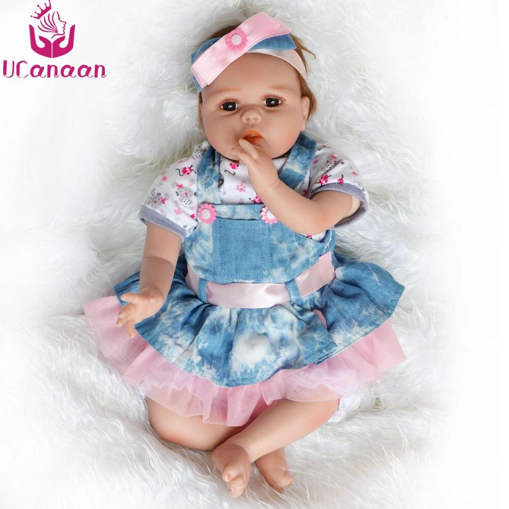 UCanaan 22 pouce Silicone Bébés Reborn Poupée 55 cm Brinquedos Vinyle Poupées Pour Les Filles Réaliste Poupée Reborn Enfants Cadeaux D'anniversaire jouets