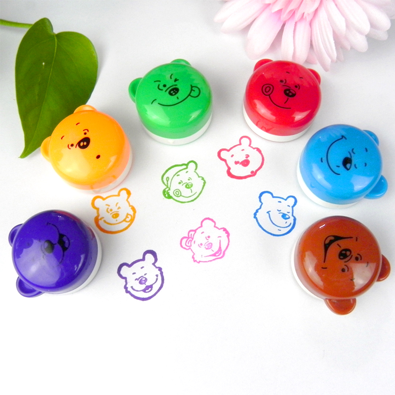 6pcs Ink Stampers Art Craft Stamps Drawing Toy Cartoon Winnie Bear Expression Kid's Learing & Educational Toys For Children