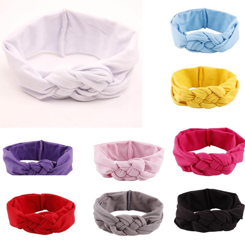 1Pc Leisure 8 Colors Soft Girl Kids Cross Hairband Turban Knitted Knot Headband Headwear Hair Band Hair Accessories
