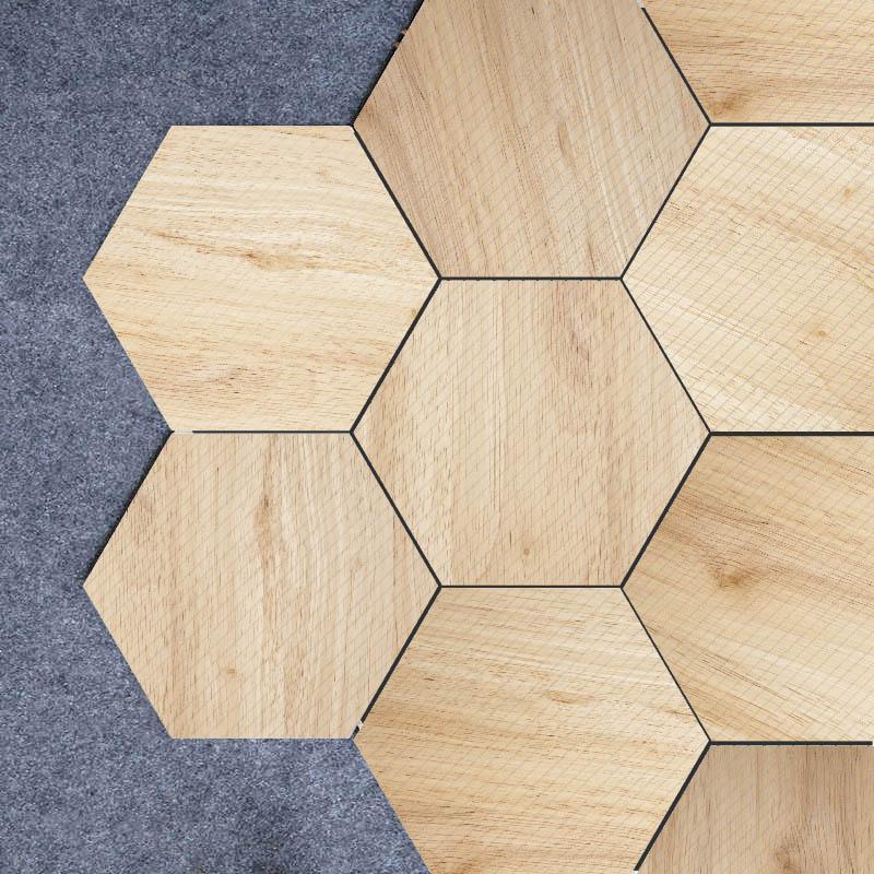 20pcs free shipping wood look self adhesive skid proof home decor hexagonal tile sticker floor sticker wall sticker mural