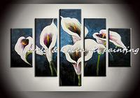 High Quality 5pcs Set Abstract Calla Lily Flowers Decoration Oil Painting On Canvas Home Wall Art