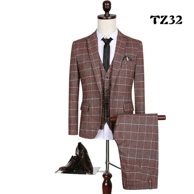 MS63 Classic 2019 Checks Men suit Blazers Retro Gentleman Style Tailor Made Slim Fit Plus Size Wedding Suits For Men 3 Piece