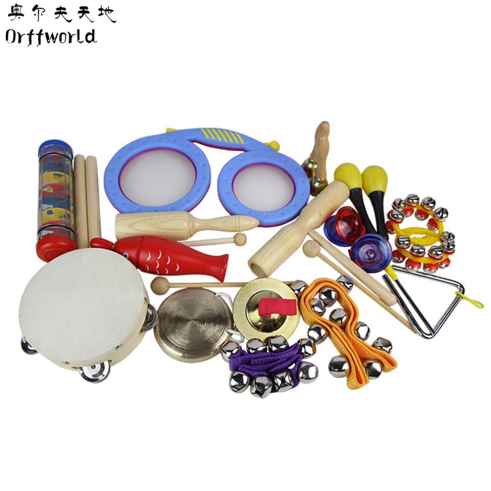 Orff World Children Percussion Instruments Eyes Drum Cylinder 16pcs/Set Early Education Kids Gift Toys Set Birthday Classic mini finger drum set touch drumming led light jazz percussion
