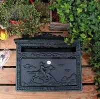 Rural Cast Iron Mail Box Mailbox Antique Metal Wall Mount Postbox Post Letters Box Home Garden