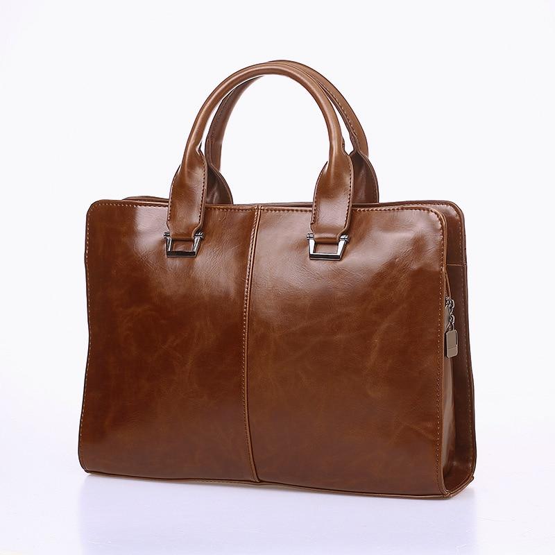 Men's Bag Black/Brown Leather Business Handbag Adjustable Strap Briefcase Zipper Document Shoulder Bag Big Capacity portafolios