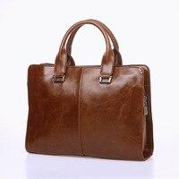 2016 Fashion Rero Vintage Style Crazy Horse PU Leather Men Briefcase Bag Solid Office Men Business