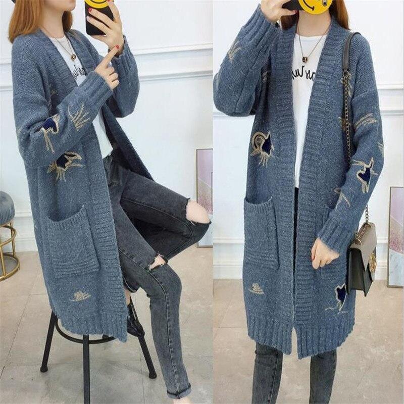 2018 nouvelle broderie Long Cardigan épaissir chaud hiver chandail vestes pour femmes tricoté manteau décontracté filles chandail d'extérieur X31