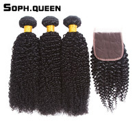 Soph Queen Hair Kinky Curly Wave 3 Bundles With Closure Remy Brazilian Human Hair Bundles With