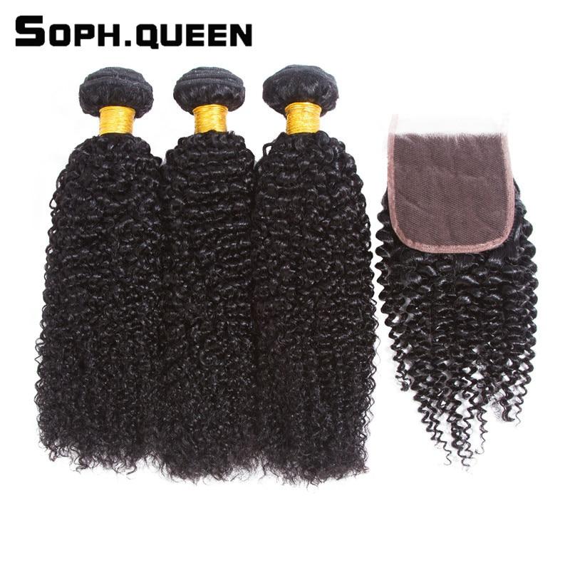 Soph királynő Hair Kinky Curly Wave 3 csomók bezárása Remy - Emberi haj (fekete)