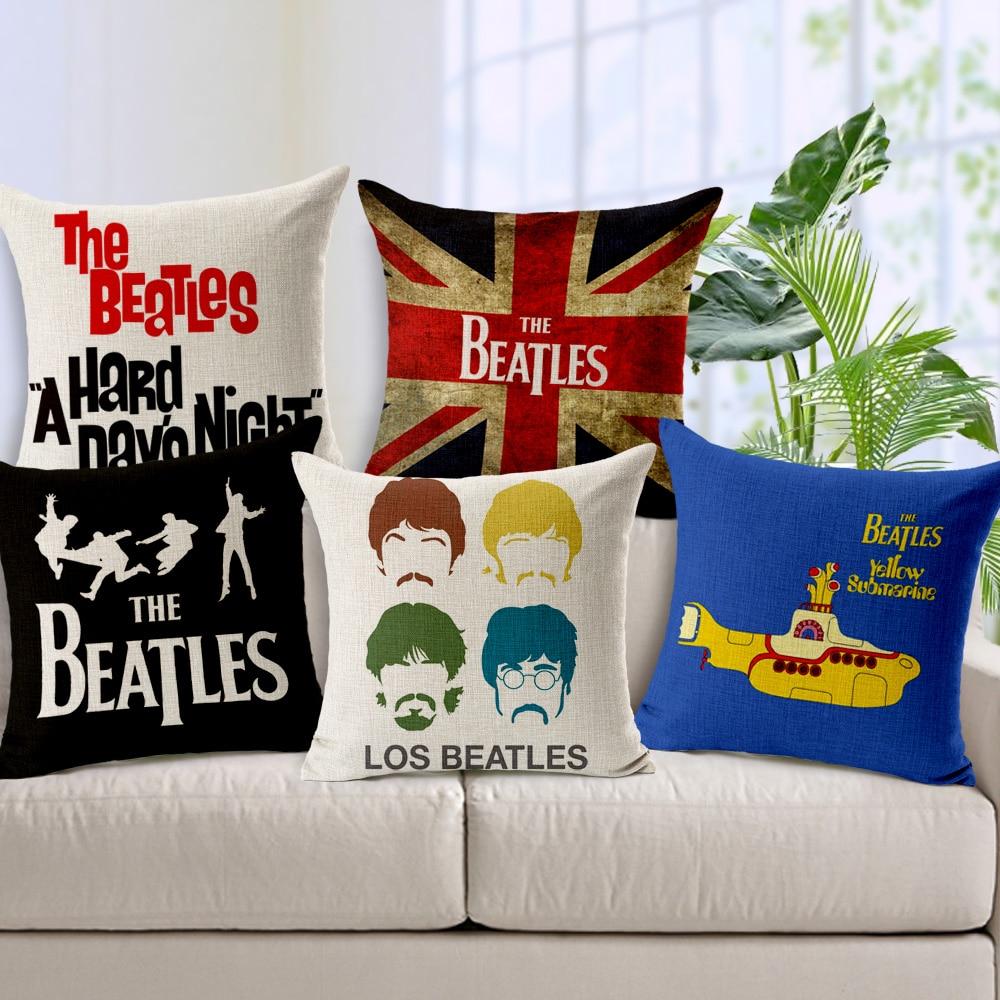 Pop Beatles Home Decor Pillow Union Jack Linen Cotton Cushion Decorative Throw Pillows Sofa Cushion Free