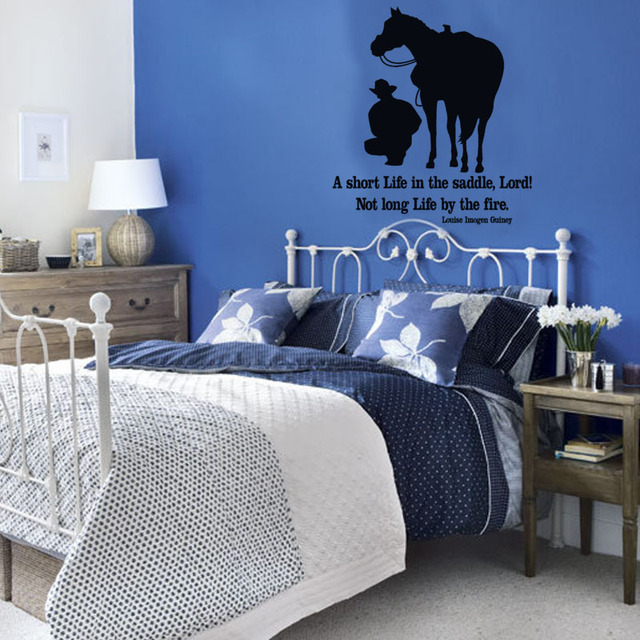 A Short Life In The Saddle Quotes Wall Stickers Home Decor Bedroom Rider  And Horse Wall