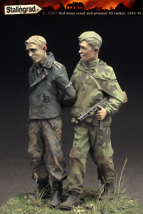 Resin Assembly  Kits 1/ 35 Red Army Scout And Prisoner  Unpainted Kit Resin Model Free Shipping