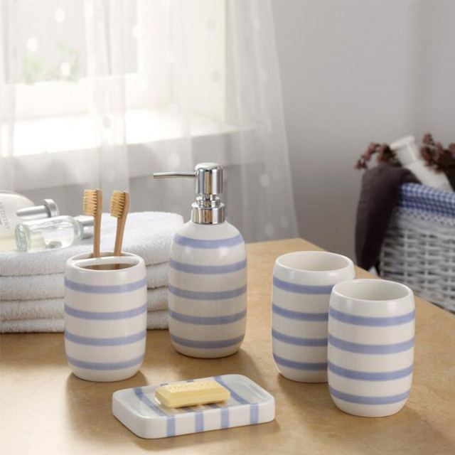 Europe Ceramic Toothbrush Holder Dispenser Soap Dish Bottle Blue White Striped Creative Bathroom Accessories Sets