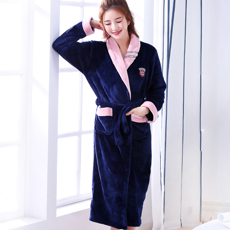 Chinese Female Coral Fleece Robe Kimono Gown Winter Thick Warm Nightgown Sleepwear Women Casual Home Wear Plus Size 3XL