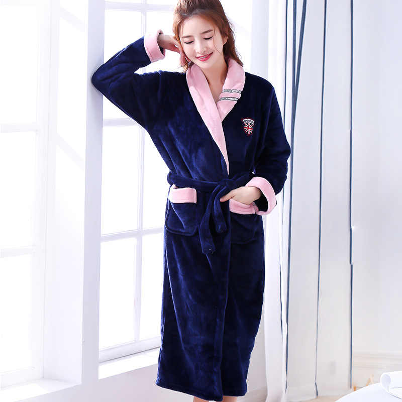 New Arrival Chinese Female Coral Fleece Robe Kimono Gown Winter Thick Warm  Nightgown Sleepwear Women Casual b4ea51ca9