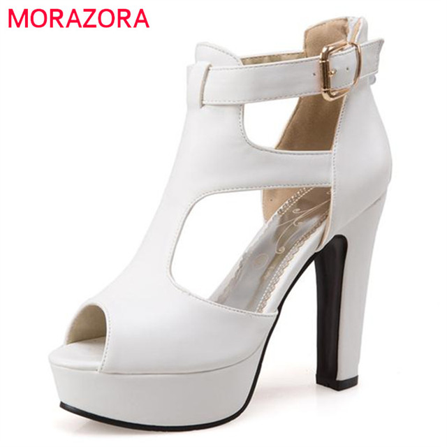 MORAZORA Большой размер 34-48 женщины насосы партия свадебные туфли peep toe пряжка платформа обувной моды eleagnt лето твердые высокие каблуки