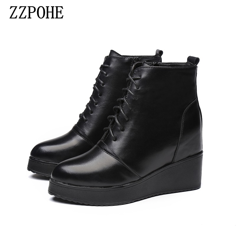 ZZPOHE Winter New Fashion Women Shoes Woman Genuine Leather Platform Soft Ankle Boots Women Black Lace Up Casual Boots odetina fashion genuine leather ankle boots flat woman round toe platform lace up boots autumn winter casual shoes big size 43