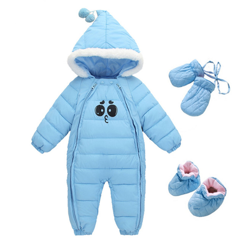Winter Baby Rompers Thick Warm Infant Clothes Newborn Baby Boy Girl Jumpsuit Hooded Kid Outerwear Overalls For 0-18Months baby down hooded jackets for newborns girl boy snowsuit warm overalls outerwear infant kids winter rompers clothing jumpsuit set
