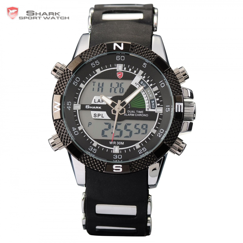 New SHARK Sport Watch Brand Analog Dual Time Stopwatch Alarm Silicone Strap Black Quartz Relogio Men Digital Timepiece / SH042 brand new ohsen rectangle dial digital dual time lcd mens date alarm stopwatch analog quartz sport leather wrist watch ohs034