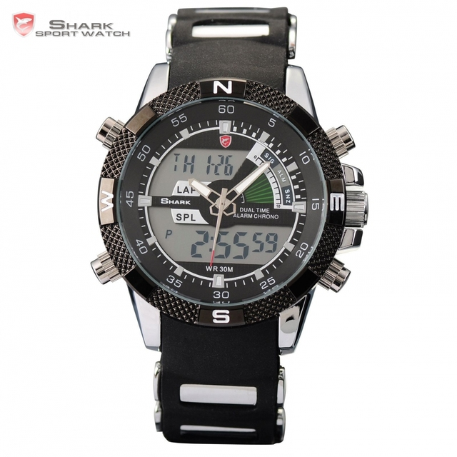 New SHARK Sport Watch Brand Analog Dual Time Stopwatch Alarm Silicone Strap Black Quartz Relogio Men Digital Timepiece / SH042