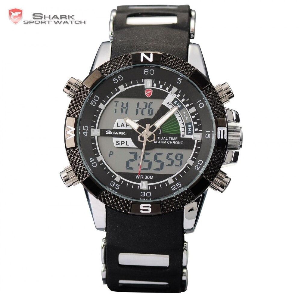 Nouvelle montre de Sport requin marque double chronomètre alarme bracelet en Silicone noir Quartz Relogio montre à Quartz numérique pour hommes/SH042