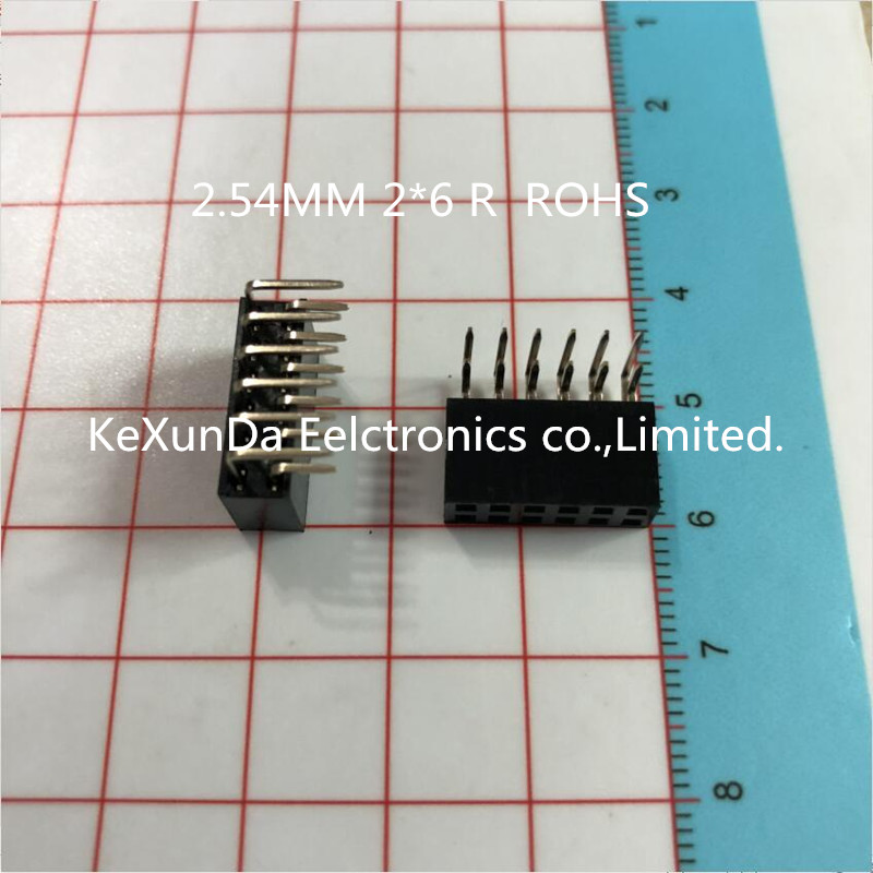 10pcs Rohs 2.54mm 2*6 R 2.54 2x6 2*6r Female Double Row 90 Degrees Right Electronic Components & Supplies