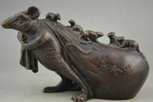 Élaboré chinois à collectionner décoration cuivre belle souris portant lingot d'or de bon augure Statue Sculpture
